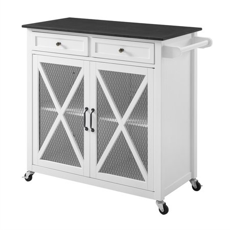 Ez Cart - Linon Westgate Two Door Kitchen Cart EZ Assembly in White