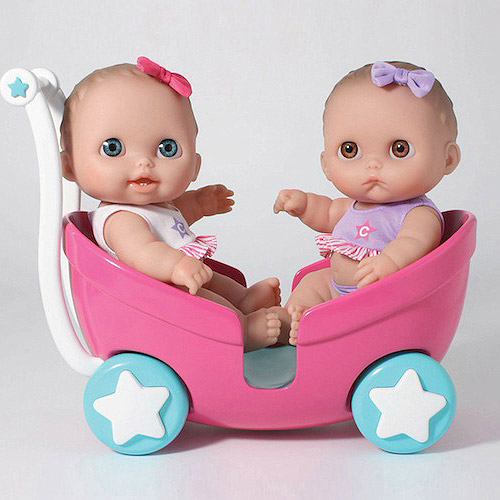 JC TOYS 16982 8. 5 inch Lil Cutesies Twins Doll in Stroller