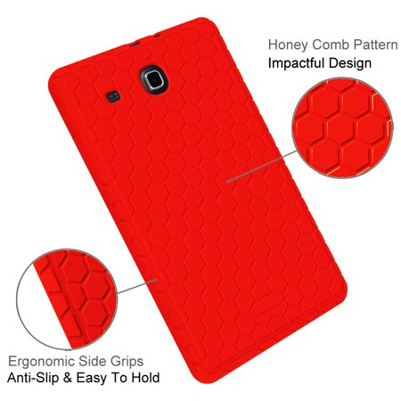 Fintie Case for Samsung Galaxy Tab E 9.6 / Samsung Tab E Nook 9.6 Silicone Lightweight Shockproof Cover,  Red - image 3 de 7