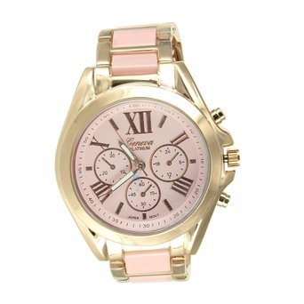 Pink Dial Womens Watch Yellow Gold Finish Round Face Roman Numeral Dial Geneva by