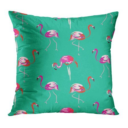 ECCOT Aloha Pink Flamingo Mint Pattern Tropic Birds on Green Brush Strokes and Hand Coral Plumage Beauty Pillowcase Pillow Cover Cushion Case 18x18 inch
