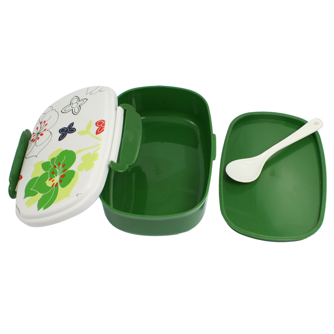 Double Layer Food Holder Green Plastic Lunch Box + Spoon