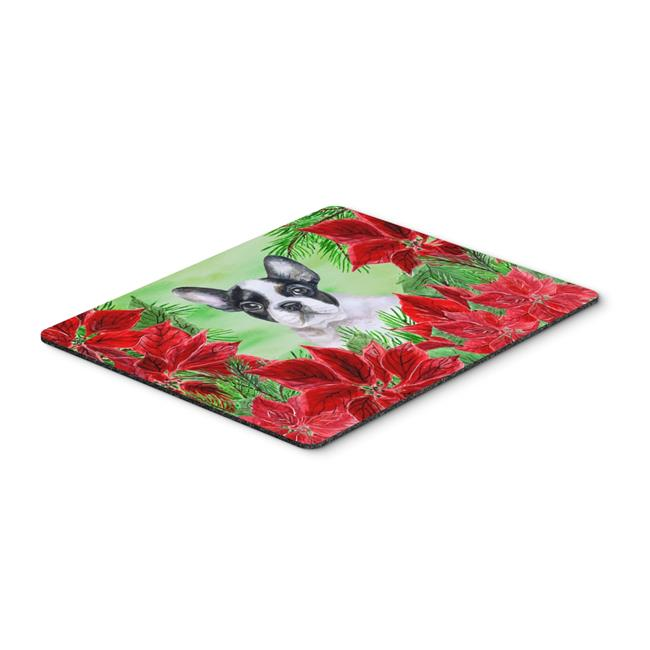 French Bulldog Black & White Poinsettas Mouse Pad, Hot Pad or Trivet