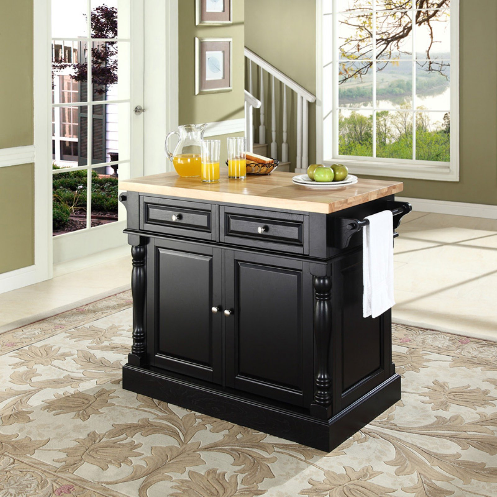 Beau Crosley Furniture Butcher Block Top Kitchen Island