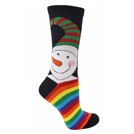 snowman print rainbow striped christmas holiday womens socks - Walmart Christmas Socks