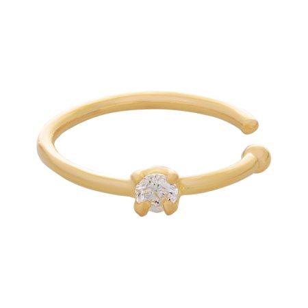 14k Hoop Ring (Lavari - 14K Yellow Gold 2mm Cubic Zirconium Open Hoop Nose Ring 20G)