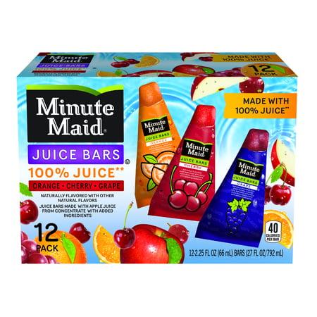 Minute Maid Juice Bars-Orange, Cherry, Grape 12 count