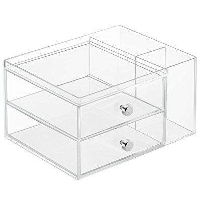 InterDesign Clarity Cosmetic Organizer for Vanity Cabinet to Hold Makeup, Beauty Products - 2 Drawer with Side Caddy, Clear