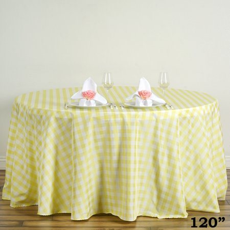 Round Table With Tablecloth.Balsacircle 120 Round Gingham Checkered Polyester Tablecloth For Garden Party Wedding Reception Catering Dining Table Linens