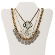 Mix Metal Fashion Trio Statement Necklace, Convertible 3-in-1 Necklace