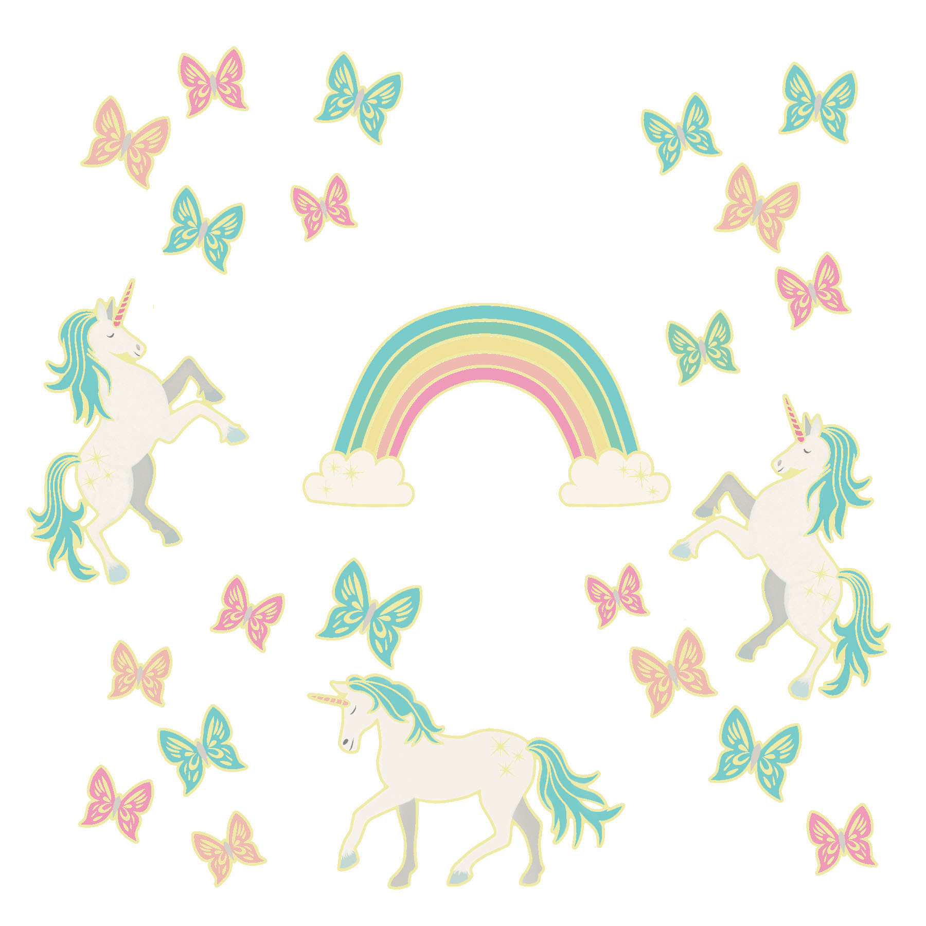 WallPops Enchanting Unicorns Glow in the Dark Wall Art Kit