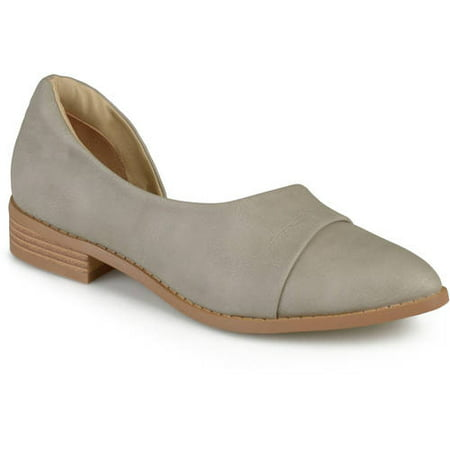 Brown Leather Stacked Heel (Ladie's Stacked Wood Heel Almond Toe D'Orsay Flats)