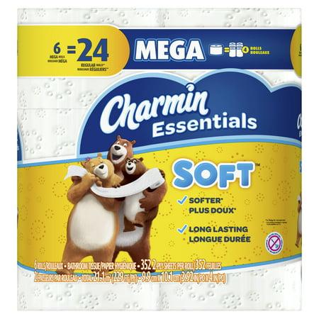 Charmin Essentials Soft Toilet Paper, 6 Mega Rolls