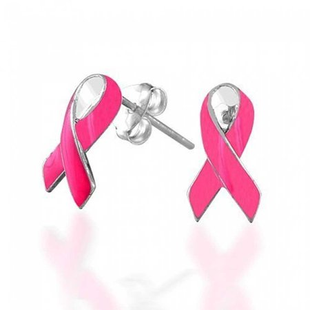 Breast Cancer Awareness Pink Ribbon Support Enamel Stud Earrings For Women 925 Sterling Silver