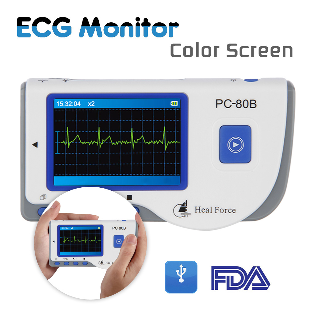 Heal force Color Portable ECG Monitor with ECG Lead Cables and 50Pcs ECG Electrodes, Blue