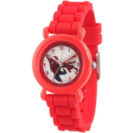 Man Plastic Sports Style Watch (Spider-Man Boys' Red Plastic Time Teacher Watch, Red Silicone Strap )