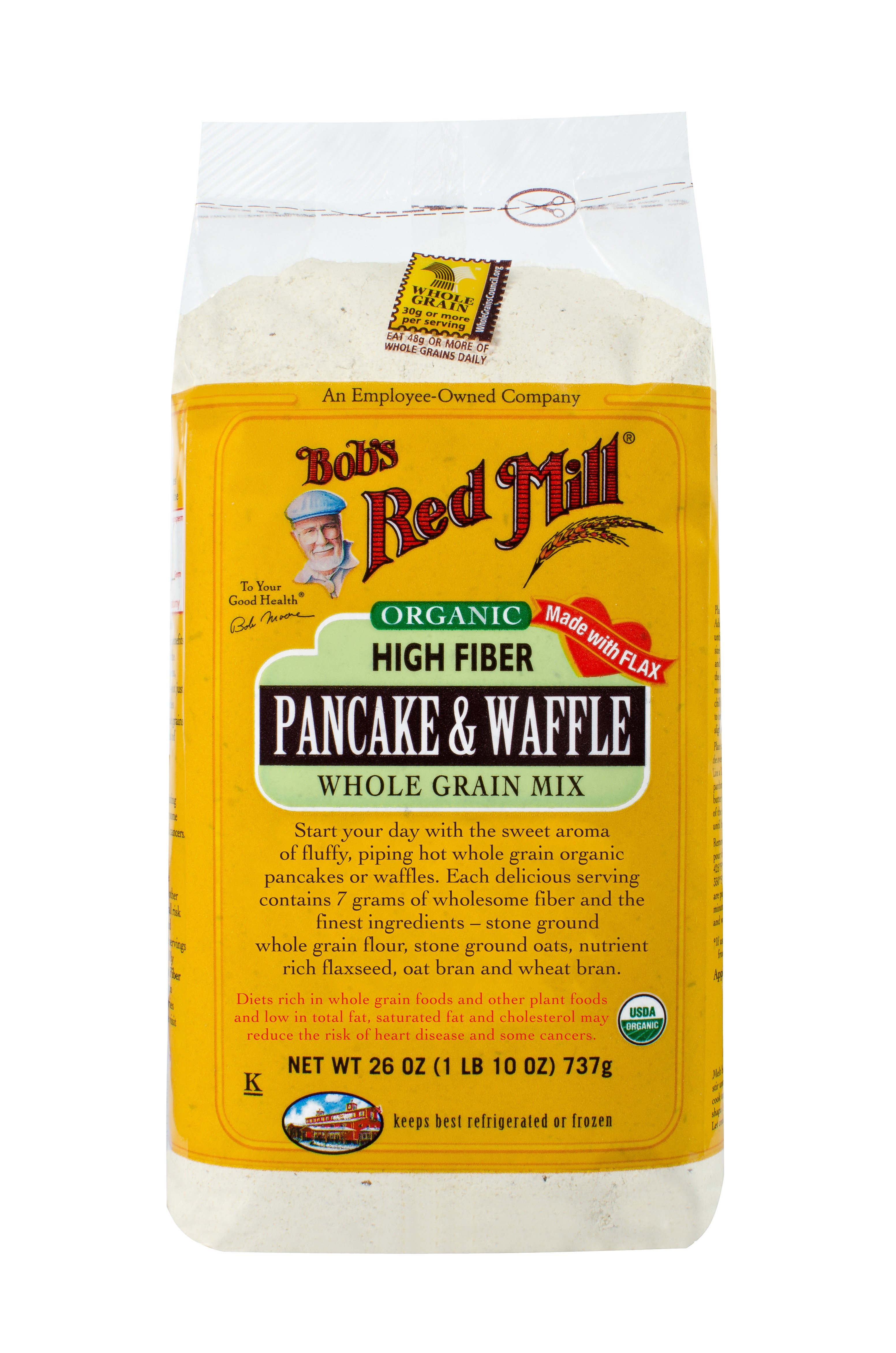 Bobs Red Mill Organic High Fiber Pancake & Waffle Mix, 26 Oz by Bob'S Red Mill