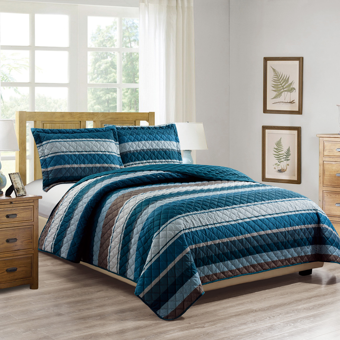 Woven Trends Printed Collection 3PC Striped Blues Quilt Set Bedspread  Coverlet