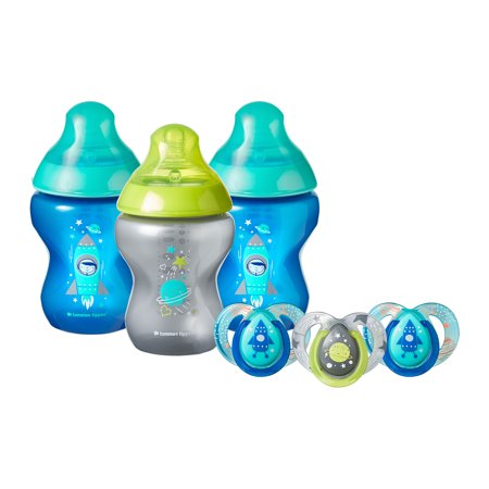 New Baby Boy Pacifier - Tommee Tippee Closer to Nature Boldly Go Gift Set, Boy, 6-Pack – 9-Ounce Baby Bottles & 6-18 month Pacifiers