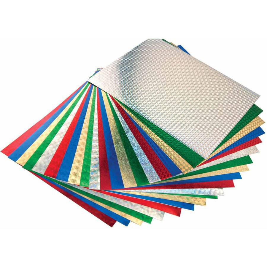 Hygloss Self-Adhesive Holographic Paper, 8-1/2 X 11 in, 20 Sheets, Assorted Color, Pack of 20