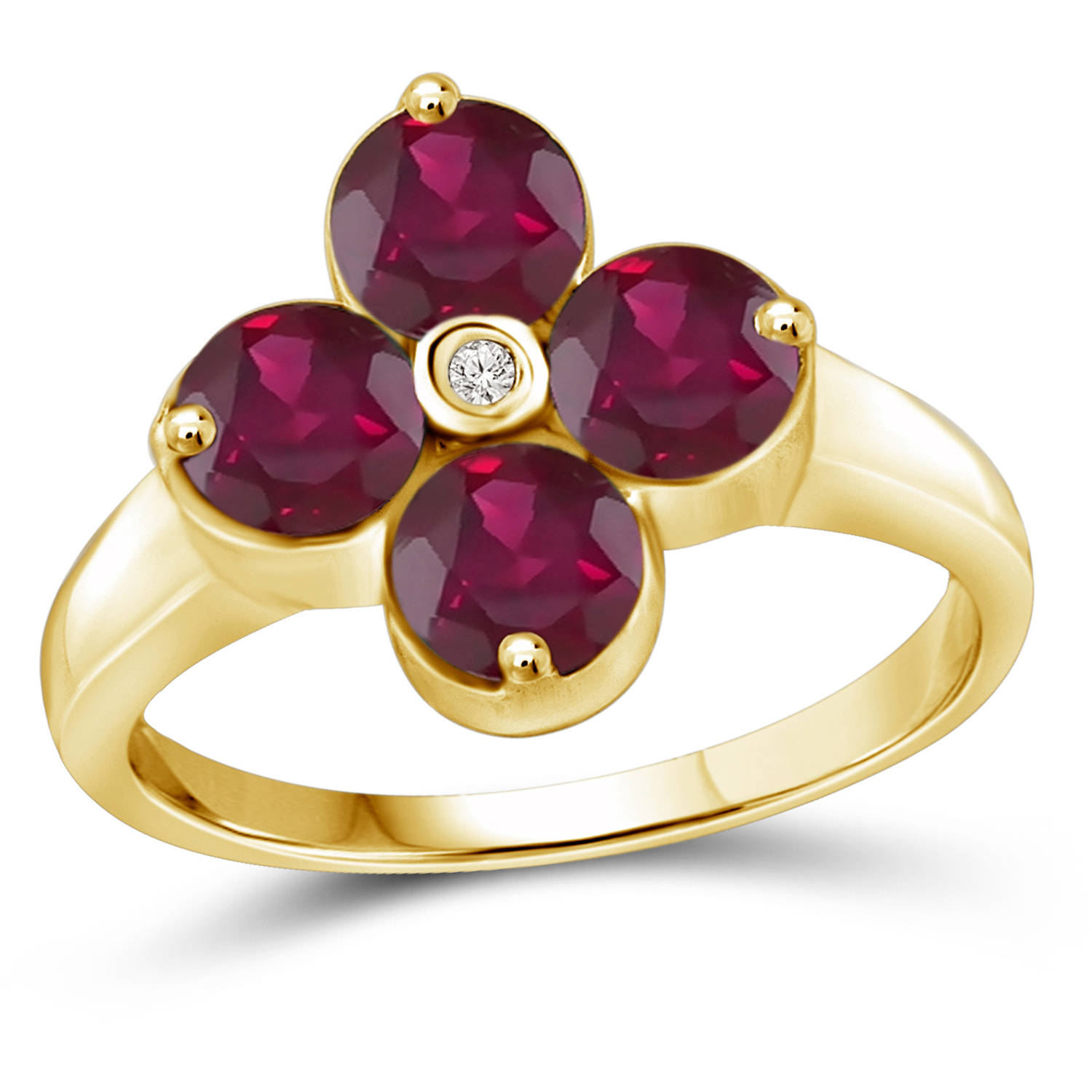 JewelersClub 2.72 Carat T.G.W. Ruby Gemstone and White Diamond Accent Gold over Sterling Silver Ring by JewelersClub