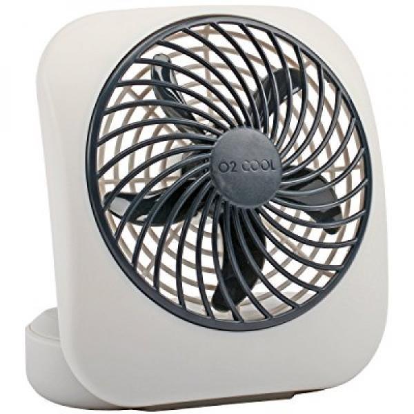 O2COOL 5-Inch Portable Desktop Air Circulation Battery Fan - 2 Cooling Speeds - Compact Folding & Tilt Design