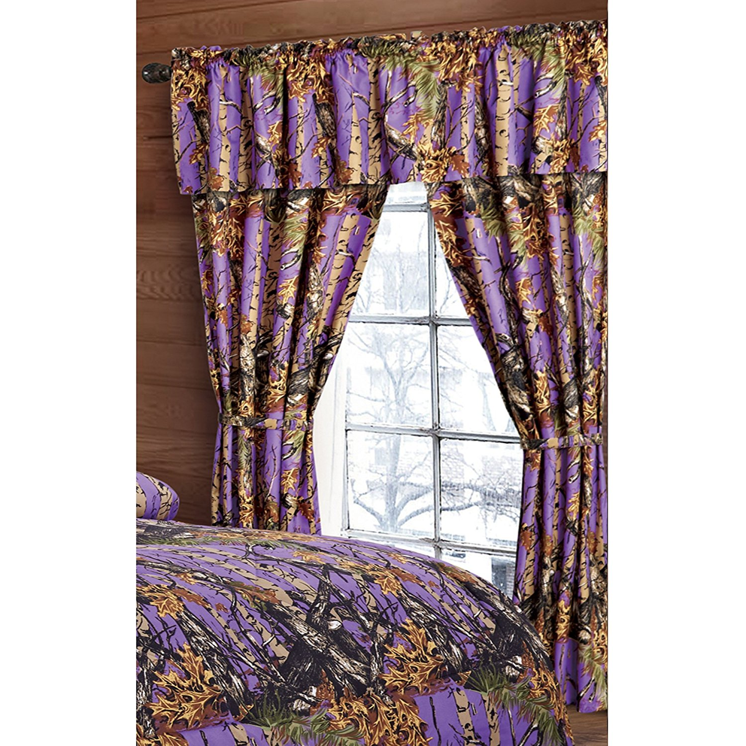 Nice Regal Comfort The Woods Purple Camouflage 5pc Curtain Set For Hunters Cabin  Or Rustic Lodge Teens