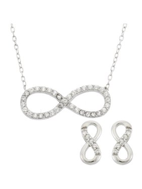 b12f545dab3b Product Image Sterling Silver Simulated White Topaz Gemstone Infinity  Symbol Necklace and Earring Set
