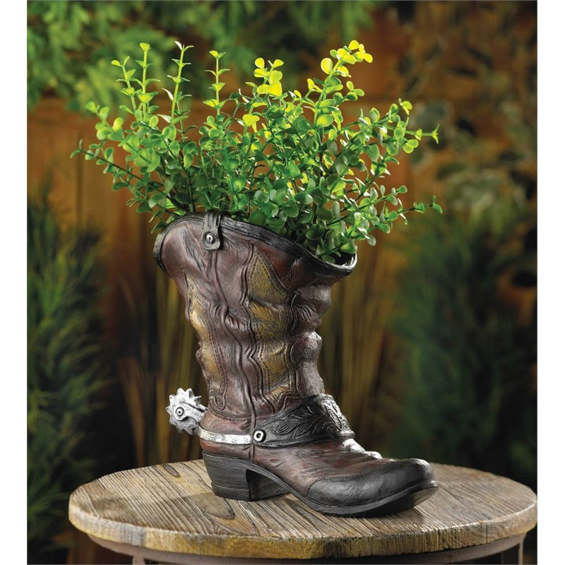 Zingz and Thingz Spurred Cowboy Boot Planter in Brown by Koolekoo