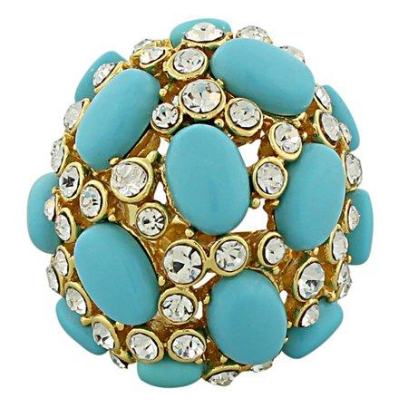 18K Yellow Gold Plated Bronze Blue Gemstones Large Cluster Cocktail Ring Gemstone Cluster Cocktail Ring