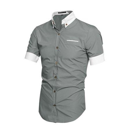 - Unique Bargains Men's Button Front Point Collar Round Hem Casual Shirt