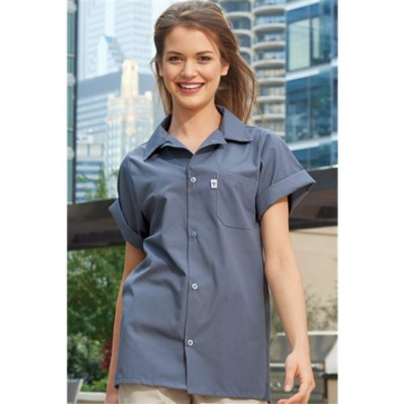 Vtex 0920-6804 5 Button Classic Utility Shirt, Berry, Large