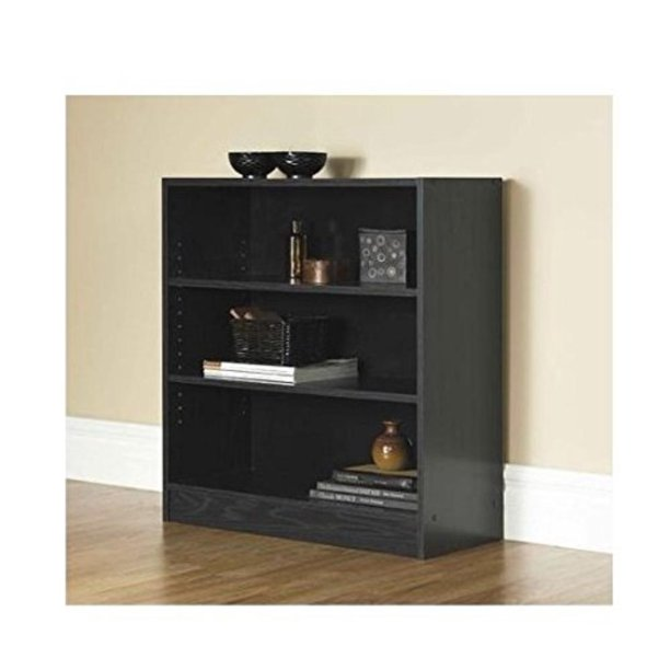 Mainstays 3-Shelf Bookcase | Wide Bookshelf Storage Wood Furniture (Black, 1), Number Of Shelves: 3 Shelves By Mylex
