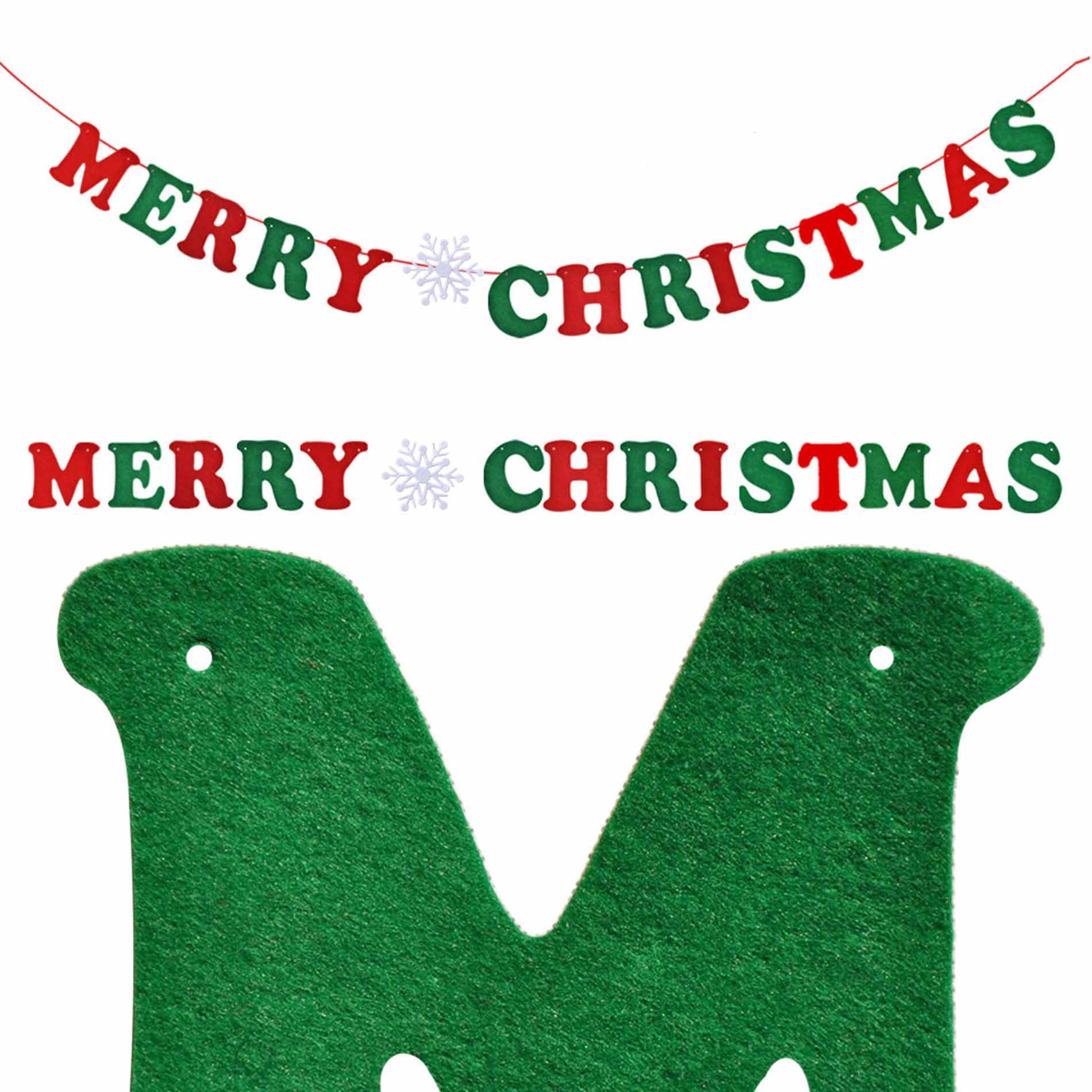 DIY Merry Christmas Hanging Bunting Sign Garland Banner String Party Flag Home Office Holiday Decoration
