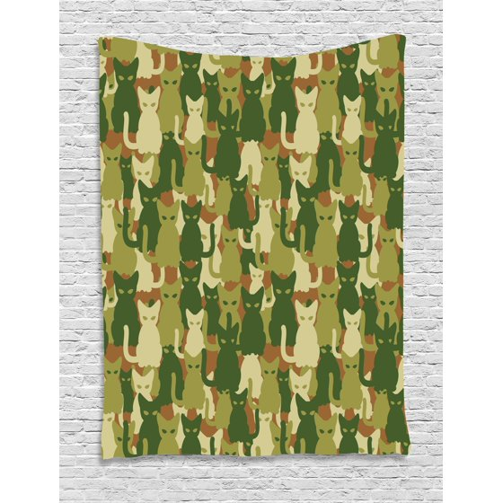 Camo Tapestry, Soldier Kittens Protective Cat Army Theme Defense ...