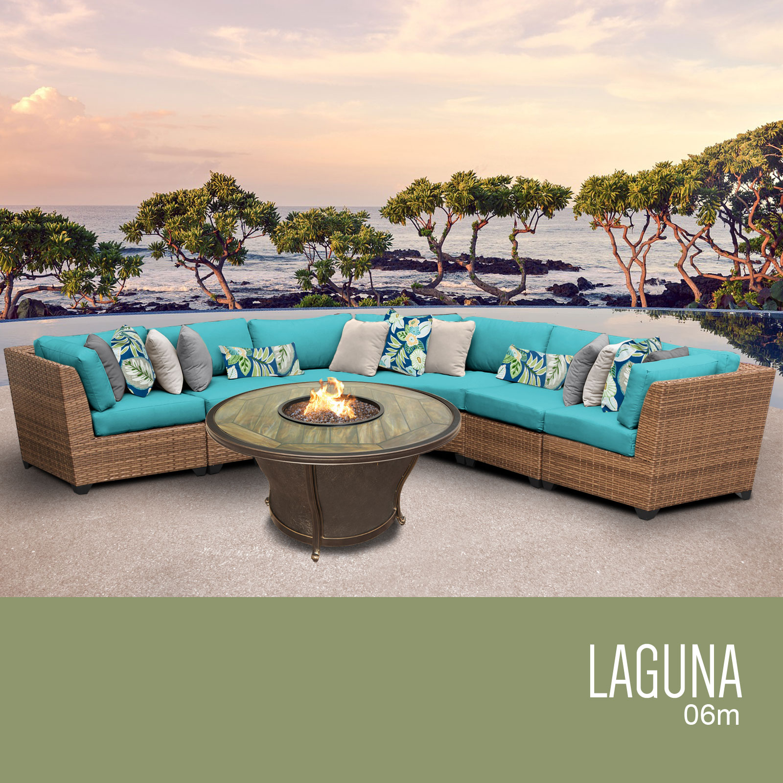 Laguna 6 Piece Outdoor Wicker Patio Furniture Set 06m