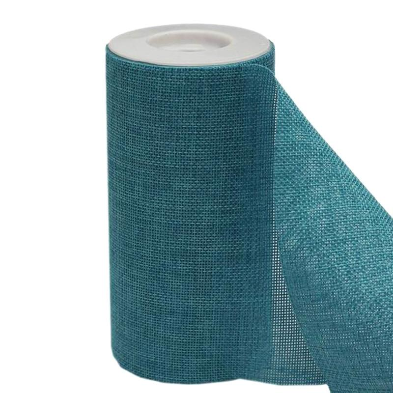 "6""x10 Yards Turquoise Polyester Fine Rustic Burlap Jute Roll For Wedding Party Decorations"