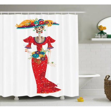 Sugar Skull Shower Curtain, Hispanic Holiday for Cinco de Mayo Figure Calavera Catrina in Vintage Clothes, Fabric Bathroom Set with Hooks, 69W X 70L Inches, Multicolor, by Ambesonne