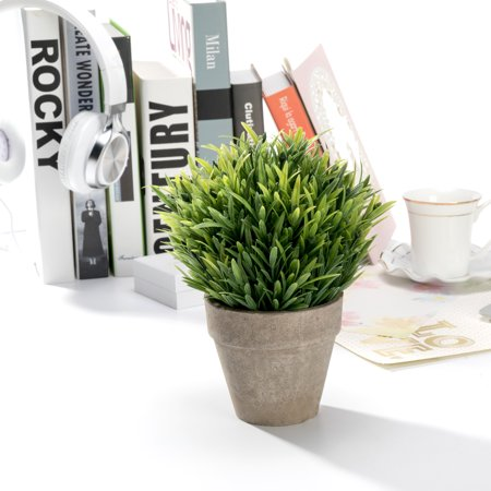 Mini Realistic Plastic Faux Plant Fake Green Grass Tabletop Arrangement with pot for Home Decor (Green) ()
