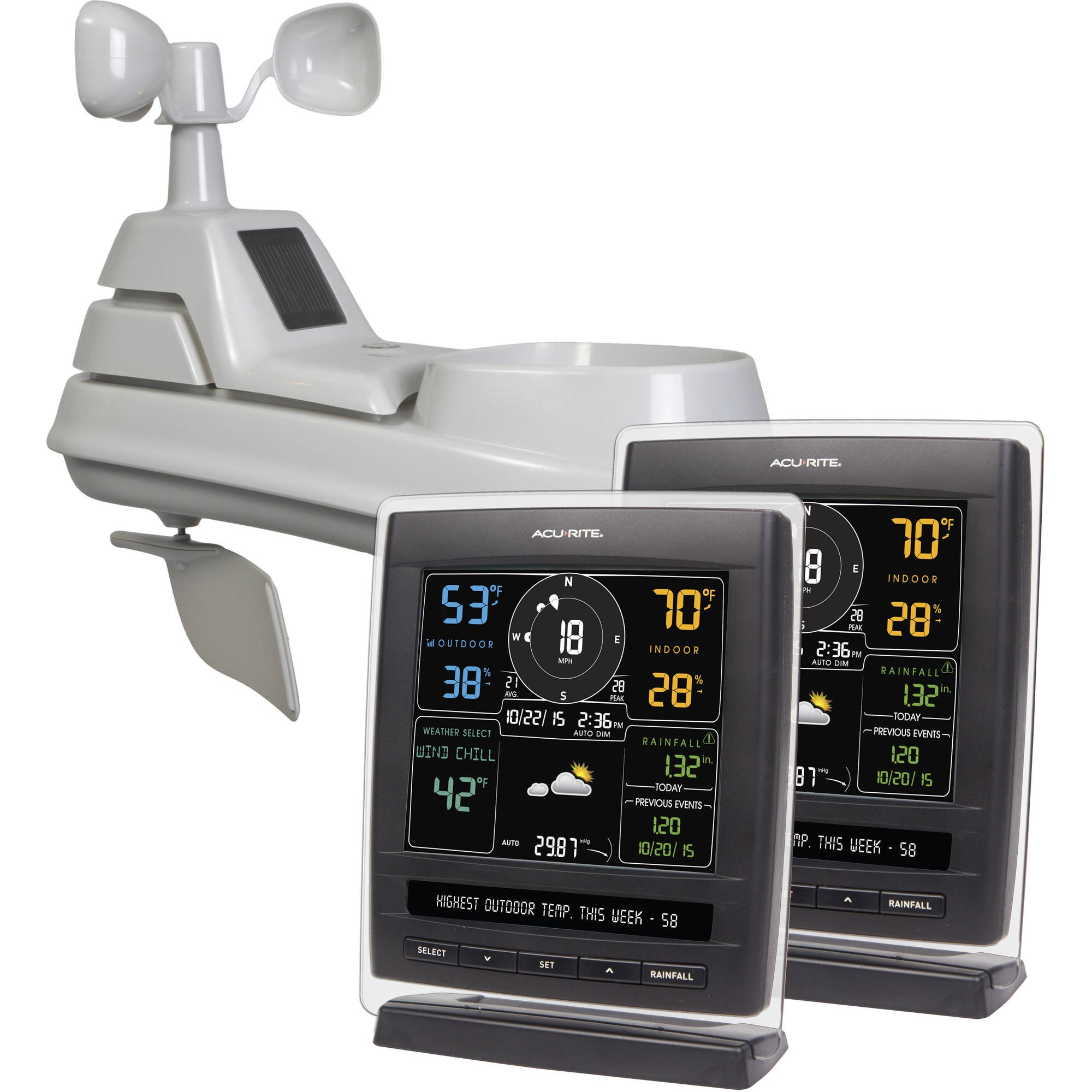 AcuRite 01042 5-in-1 Pro Weather Station with 2 Displays