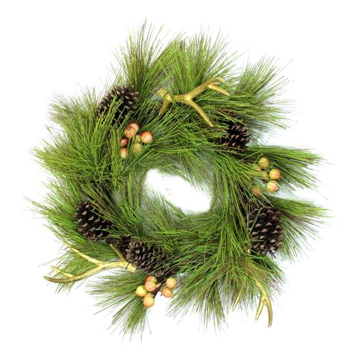Northlight 30 in. Unlit Pine Needle Pinecones and Antlers Christmas Wreath