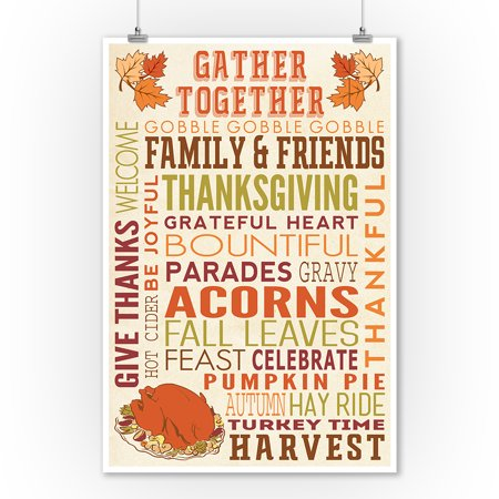Gather Together - Thanksgiving Typography w/ Turkey - Lantern Press Artwork (9x12 Art Print, Wall Decor Travel Poster)](Turkish Lanterns)