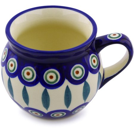Polish Pottery 6 oz Bubble Mug (Peacock Leaves Theme) Hand Painted in Boleslawiec, Poland + Certificate of Authenticity ()