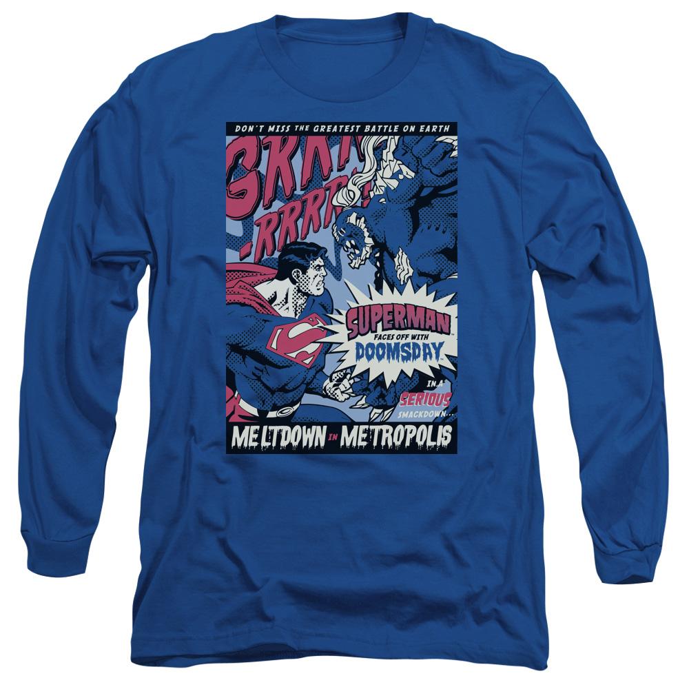 SUPERMAN/MELTDOWN-L/S ADULT 18/1-ROYAL BLUE-2X
