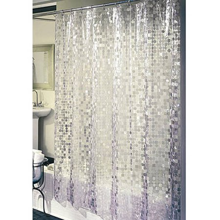 Ex-Cell Home Fashions Disco Vinyl Shower Curtain, Silver