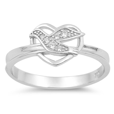 Clear CZ Holy Christian Dove Heart Promise Ring Sterling Silver Band Size