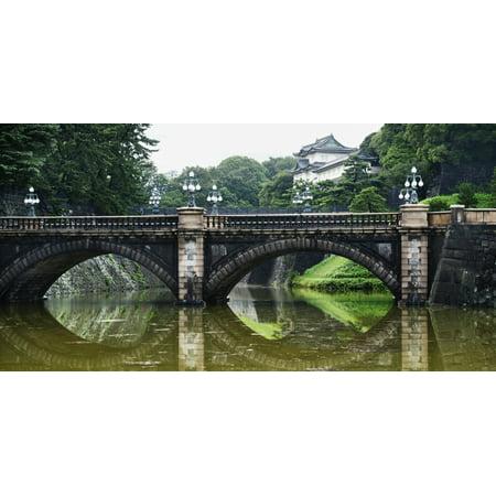 Nijubashi Bridge At Imperial Palace Tokyo Japan Canvas Art - Keith Levit  Design Pics (22 x 11)