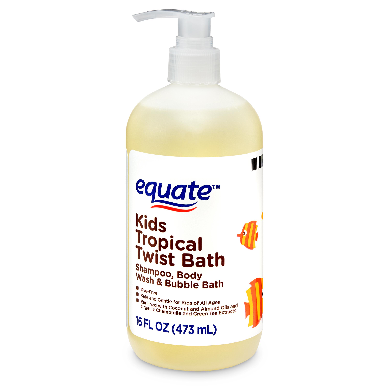 Equate Kids Tropical Twist Shampoo, Body Wash, & Bubble Bath, 16 fl oz