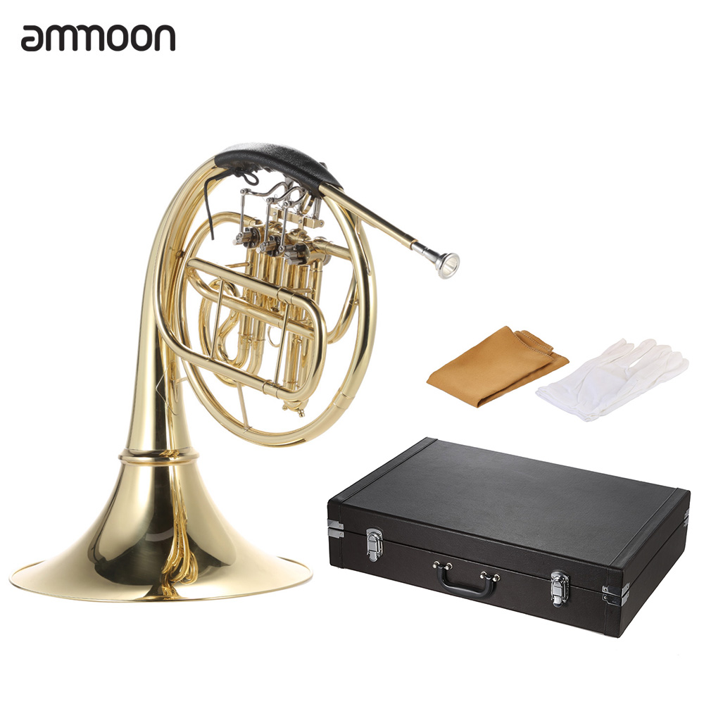 ammoon French Horn B Bb Flat 3 Key Brass Gold Lacquer Single-Row for Student Beginner... by