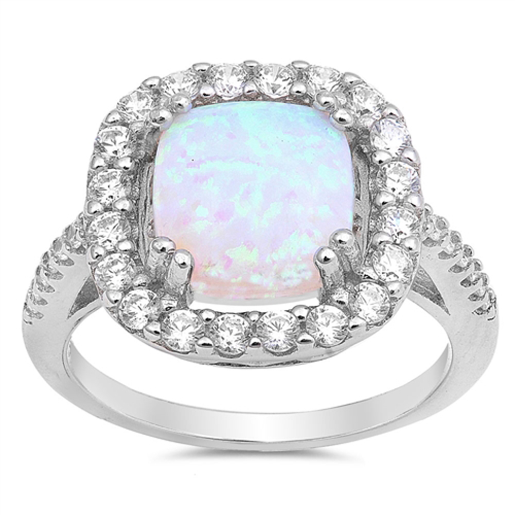 Clear CZ White Simulated Opal Halo Wedding Ring ( Sizes 5 6 7 8 9 10 ) .925 Sterling Silver Band Rings by Sac Silver (Size 10)
